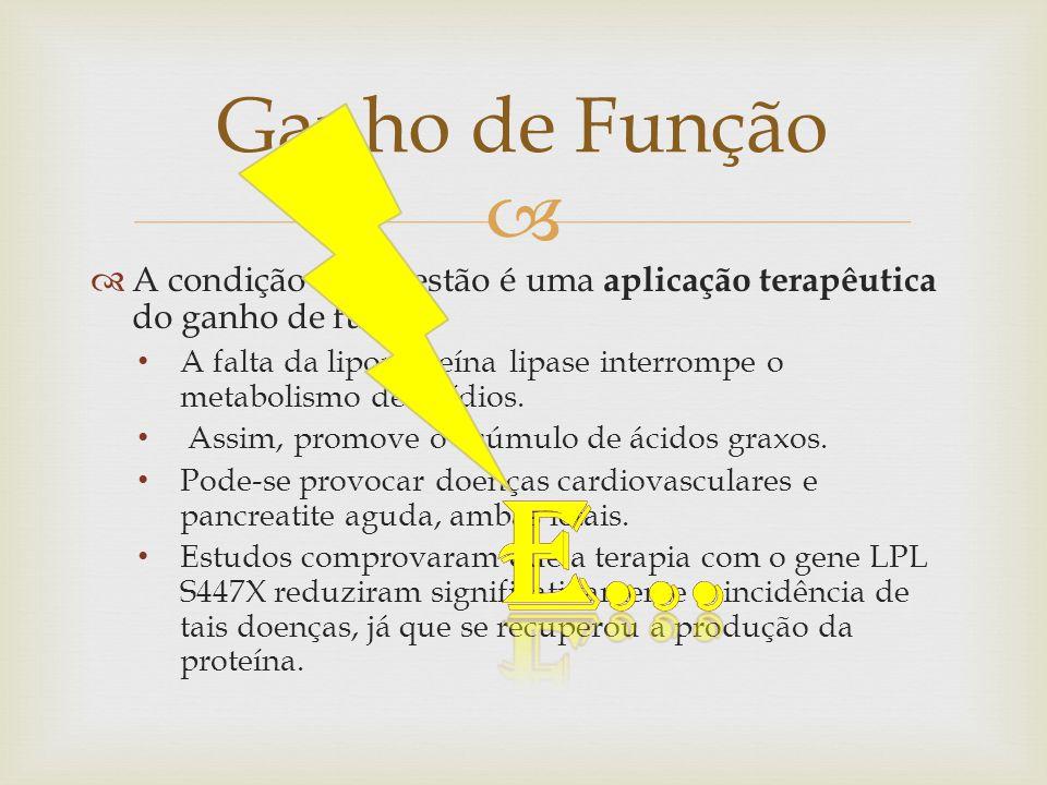 Ganho de Função A condição em questão é uma aplicação terapêutica do ganho de função.