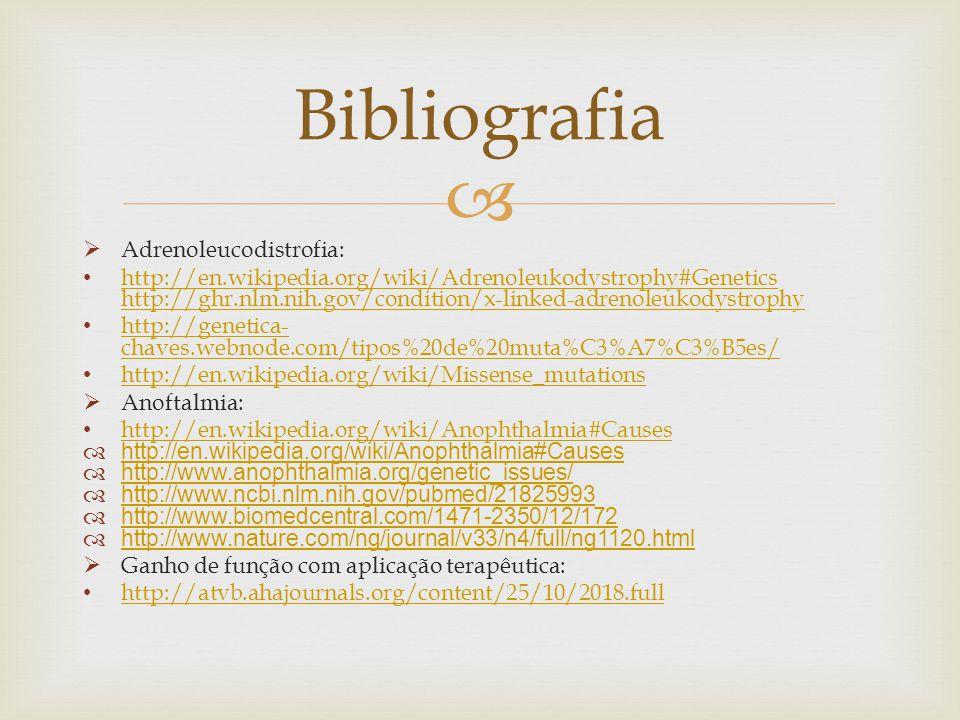 Bibliografia Adrenoleucodistrofia: