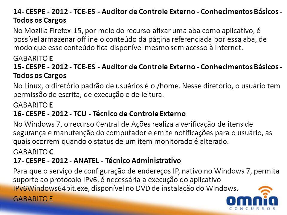 14- CESPE - 2012 - TCE-ES - Auditor de Controle Externo - Conhecimentos Básicos - Todos os Cargos