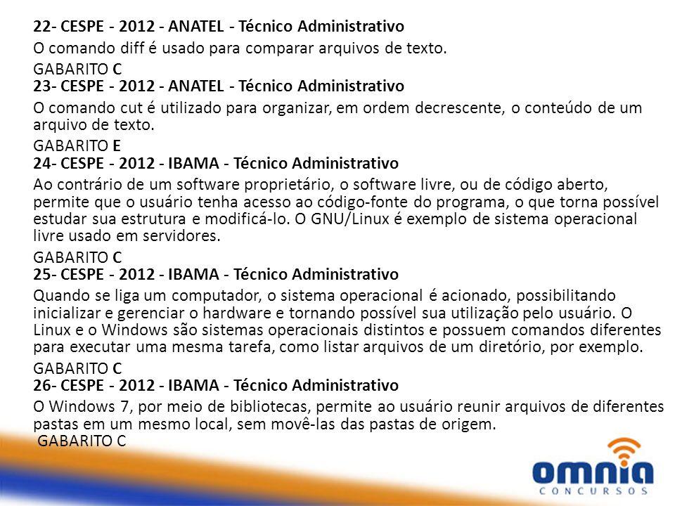 22- CESPE - 2012 - ANATEL - Técnico Administrativo