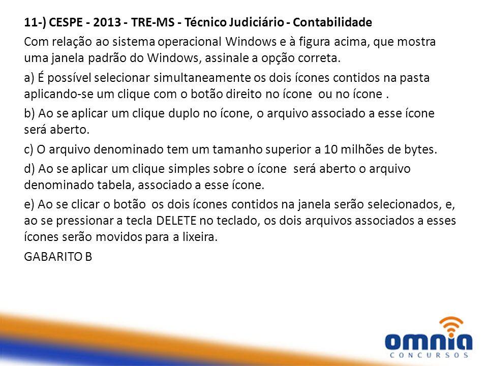 11-) CESPE - 2013 - TRE-MS - Técnico Judiciário - Contabilidade