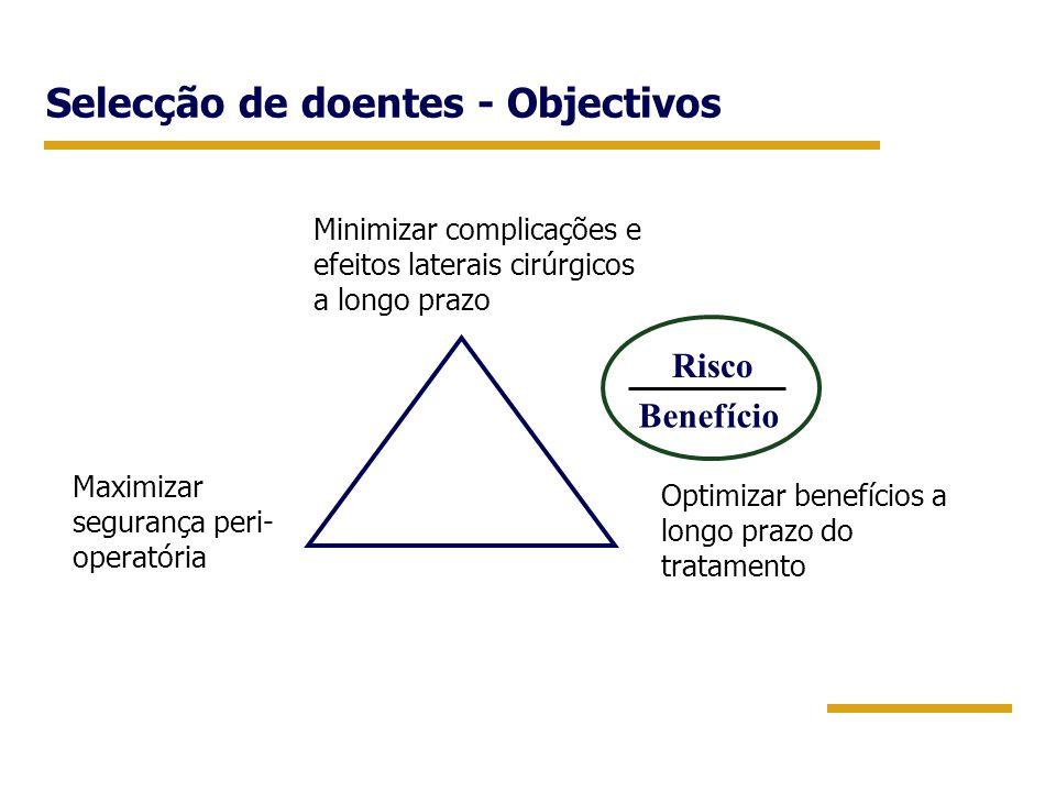 Selecção de doentes - Objectivos