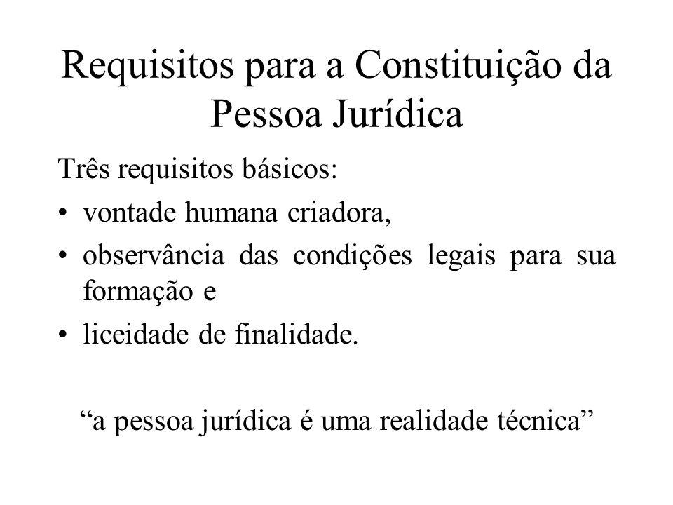 Requisitos para a Constituição da Pessoa Jurídica