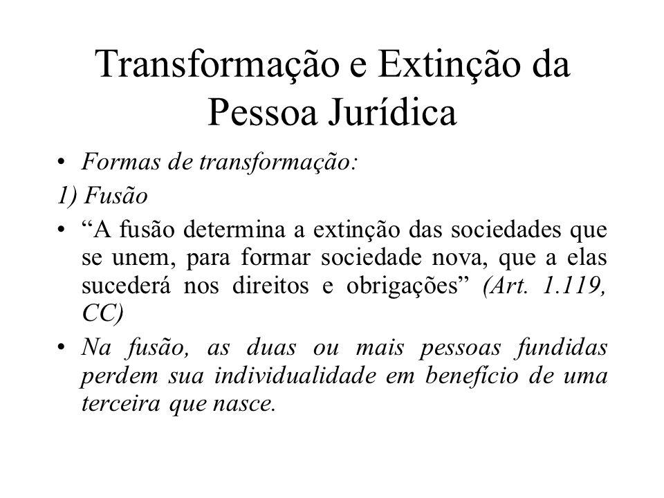 Transformação e Extinção da Pessoa Jurídica