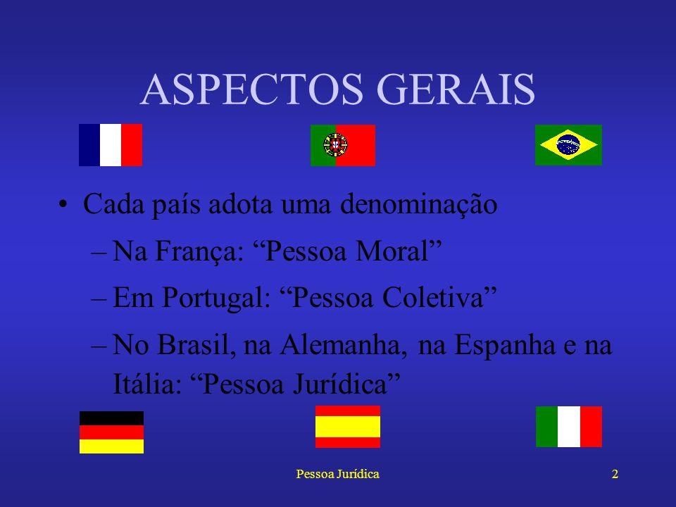 ASPECTOS GERAIS Cada país adota uma denominação