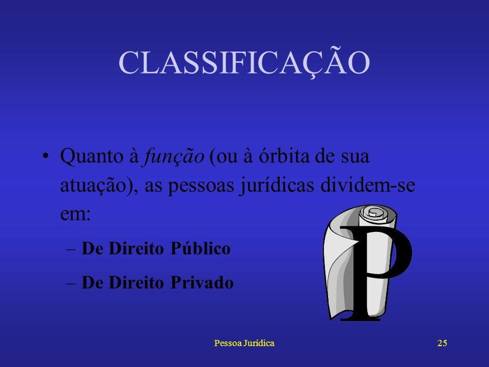 CLASSIFICAÇÃO Quanto à função (ou à órbita de sua atuação), as pessoas jurídicas dividem-se em: De Direito Público.