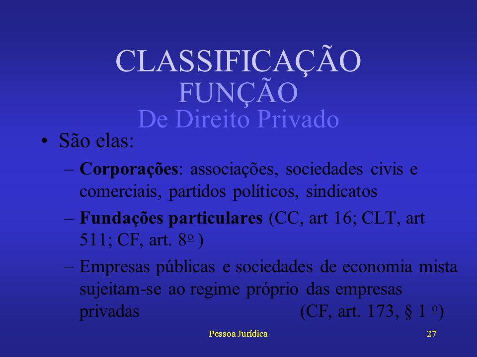 CLASSIFICAÇÃO FUNÇÃO De Direito Privado São elas: