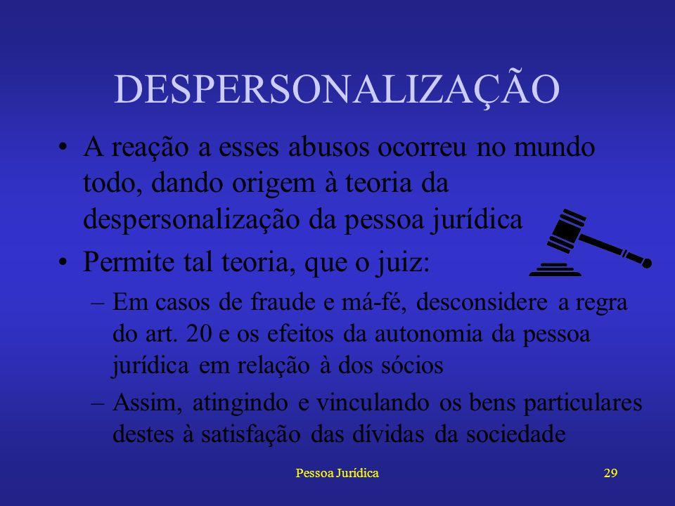 DESPERSONALIZAÇÃO A reação a esses abusos ocorreu no mundo todo, dando origem à teoria da despersonalização da pessoa jurídica.