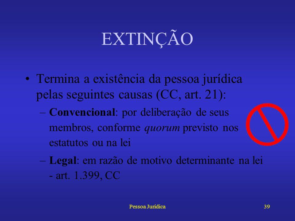 EXTINÇÃO Termina a existência da pessoa jurídica pelas seguintes causas (CC, art. 21):
