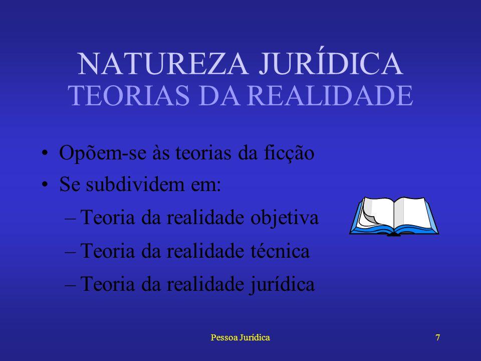 NATUREZA JURÍDICA TEORIAS DA REALIDADE Opõem-se às teorias da ficção