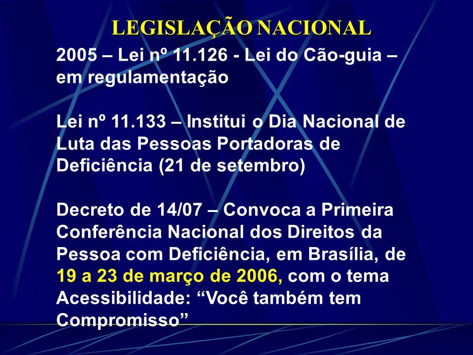 LEGISLAÇÃO NACIONAL 2005 – Lei nº 11.126 - Lei do Cão-guia – em regulamentação.