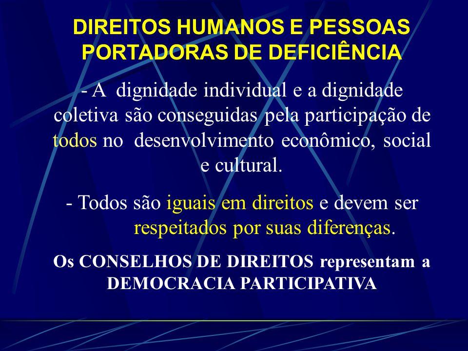 DIREITOS HUMANOS E PESSOAS PORTADORAS DE DEFICIÊNCIA