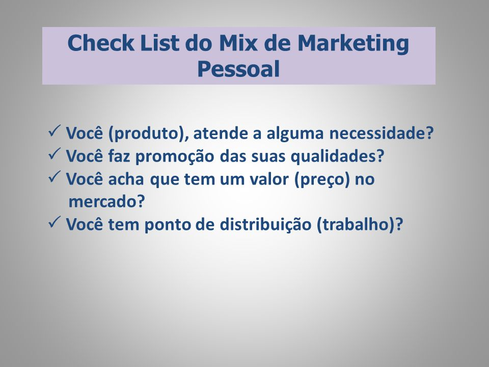 Check List do Mix de Marketing Pessoal