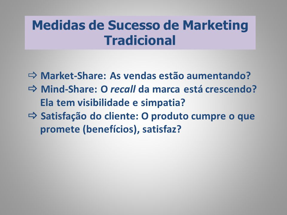 Medidas de Sucesso de Marketing Tradicional