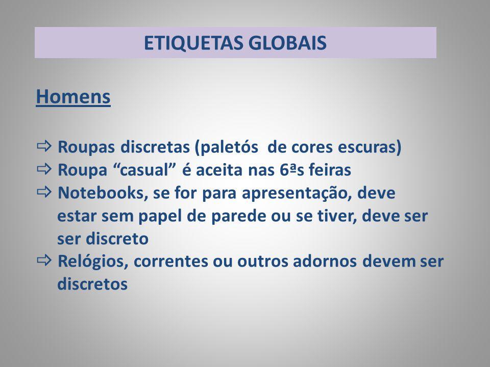 ETIQUETAS GLOBAIS Homens Roupas discretas (paletós de cores escuras)