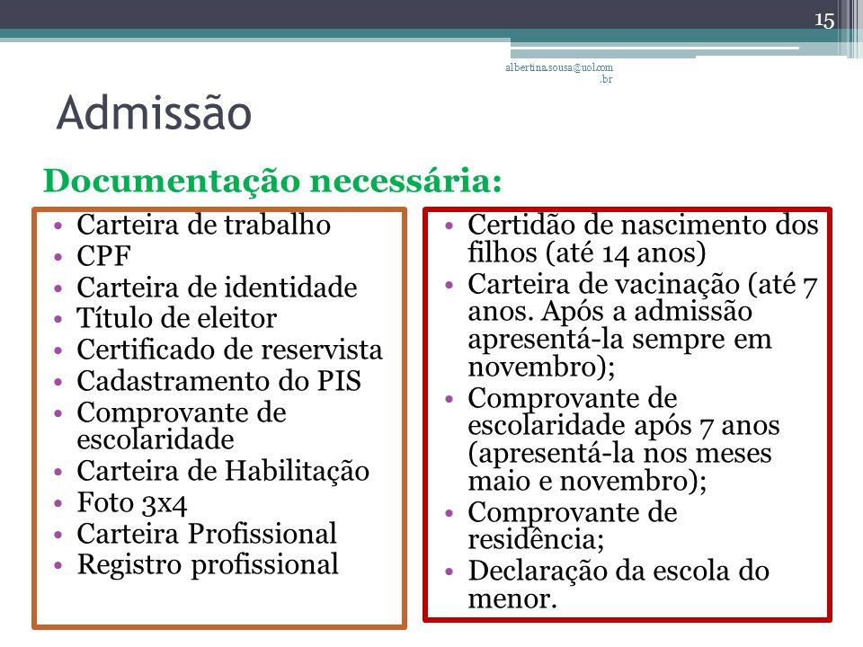 Admissão Documentação necessária: Carteira de trabalho CPF