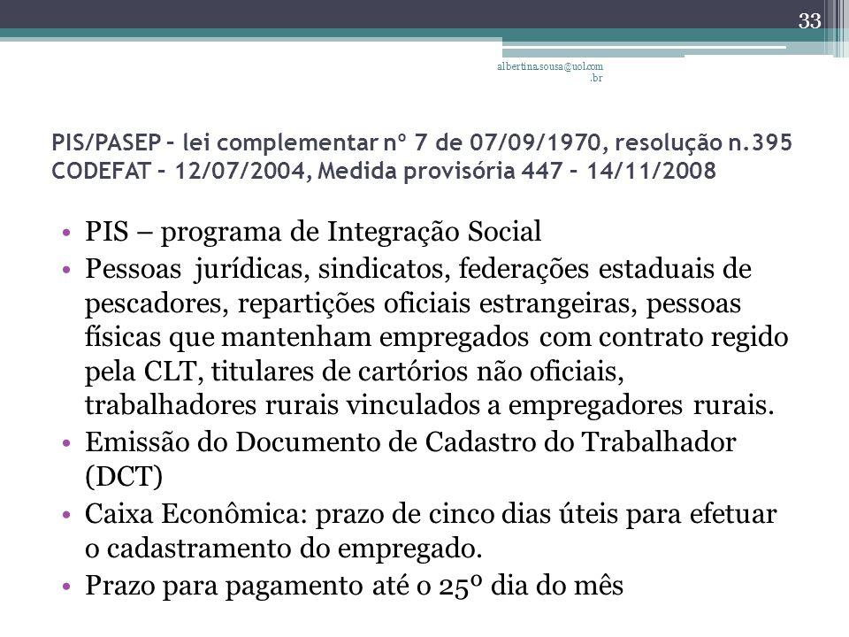 PIS – programa de Integração Social