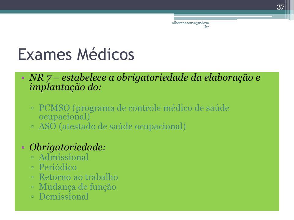 albertina.sousa@uol.com.br Exames Médicos. NR 7 – estabelece a obrigatoriedade da elaboração e implantação do: