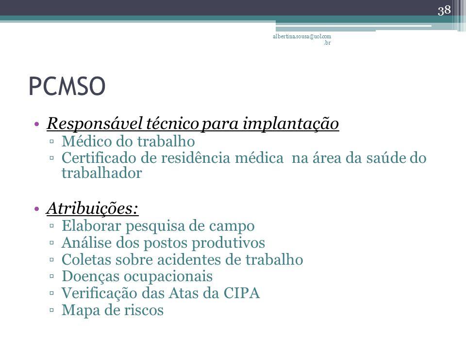PCMSO Responsável técnico para implantação Atribuições: