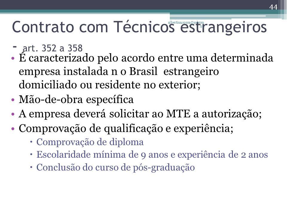 Contrato com Técnicos estrangeiros - art. 352 a 358