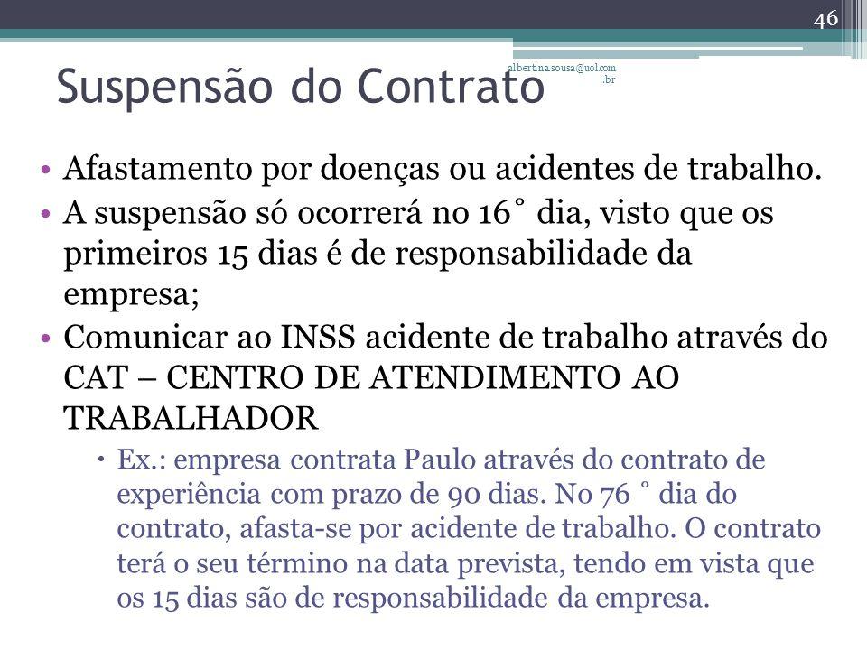 Suspensão do Contrato albertina.sousa@uol.com.br. Afastamento por doenças ou acidentes de trabalho.