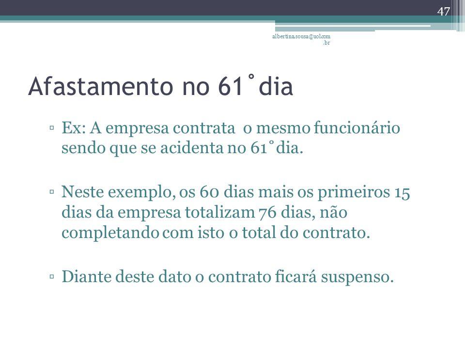 albertina.sousa@uol.com.br Afastamento no 61˚dia. Ex: A empresa contrata o mesmo funcionário sendo que se acidenta no 61˚dia.