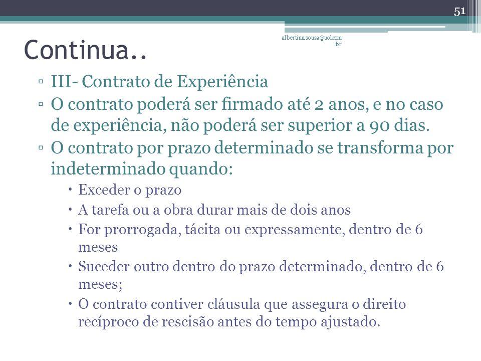 Continua.. III- Contrato de Experiência