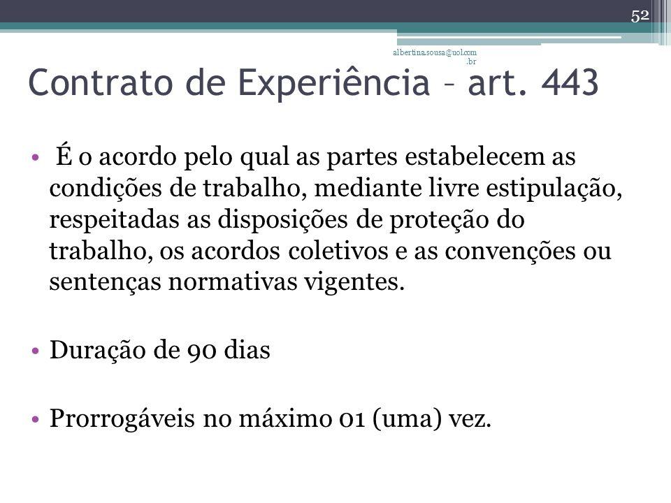 Contrato de Experiência – art. 443