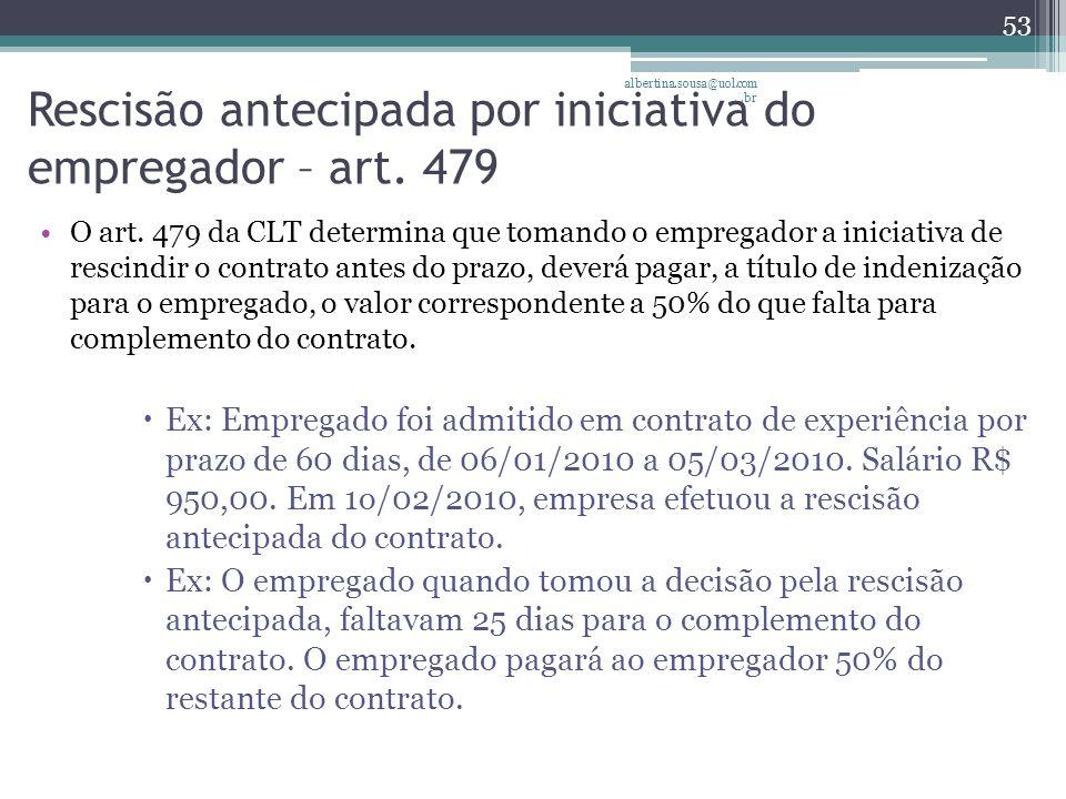 Rescisão antecipada por iniciativa do empregador – art. 479