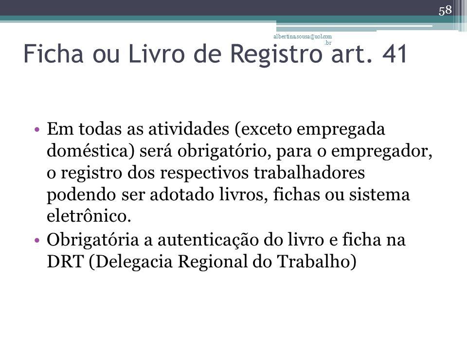 Ficha ou Livro de Registro art. 41