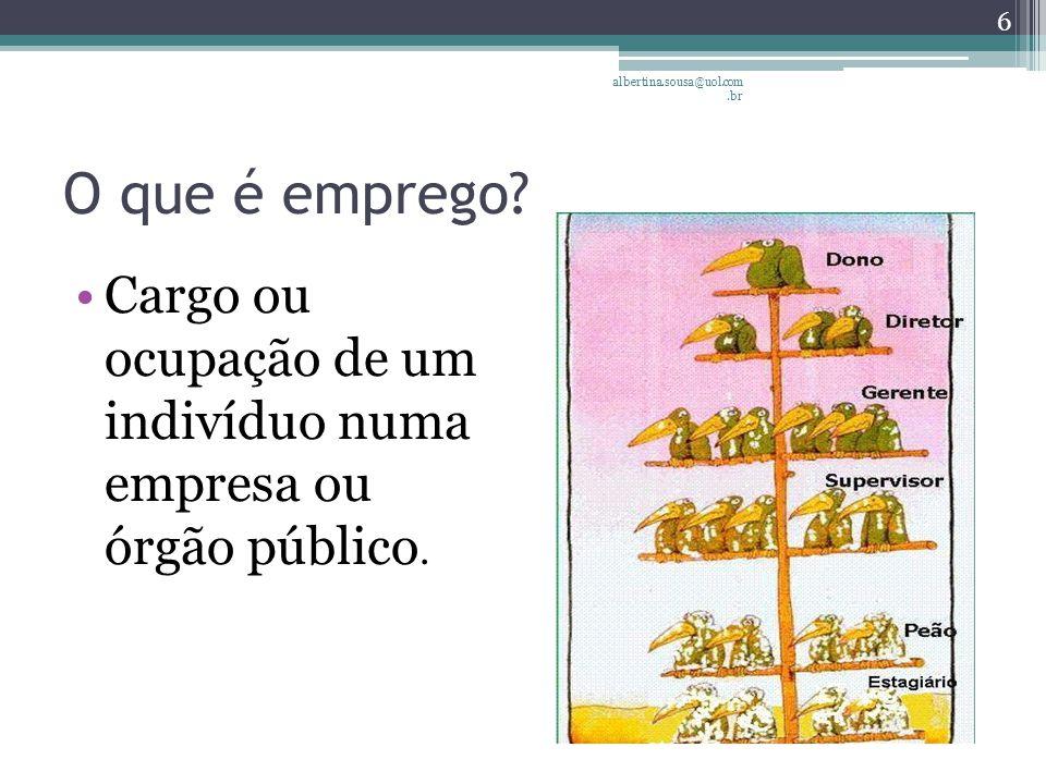 albertina.sousa@uol.com.br O que é emprego.