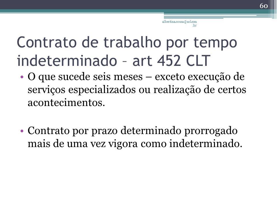 Contrato de trabalho por tempo indeterminado – art 452 CLT