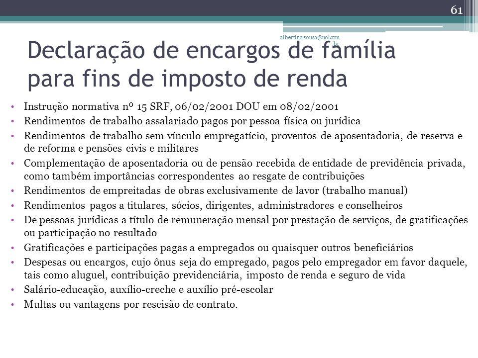 Declaração de encargos de família para fins de imposto de renda