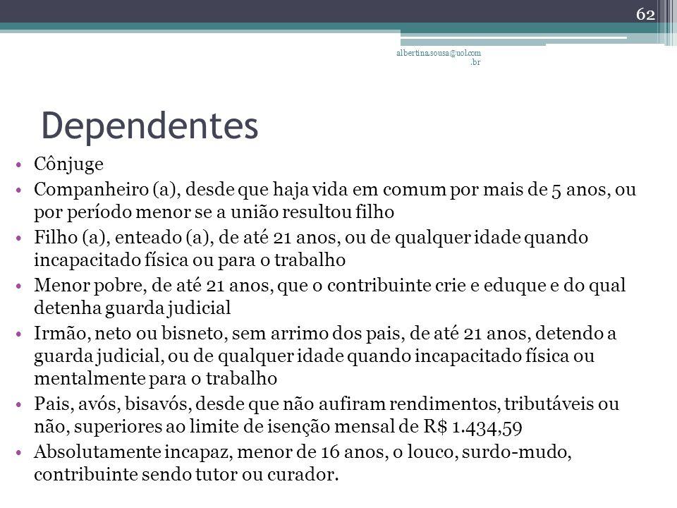albertina.sousa@uol.com.br Dependentes. Cônjuge.