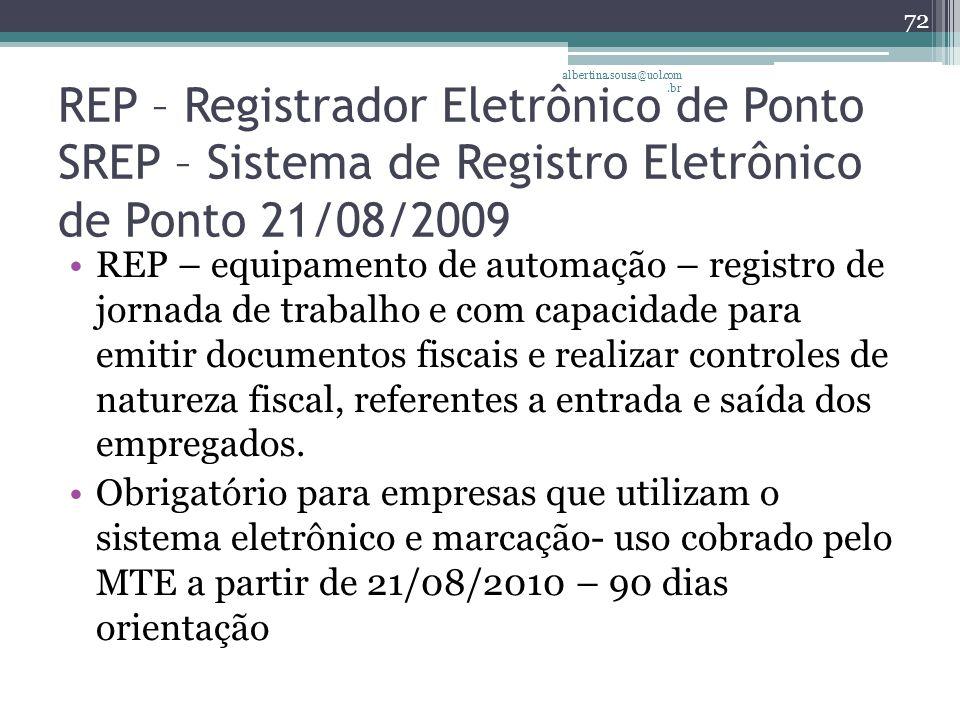 albertina.sousa@uol.com.br REP – Registrador Eletrônico de Ponto SREP – Sistema de Registro Eletrônico de Ponto 21/08/2009.