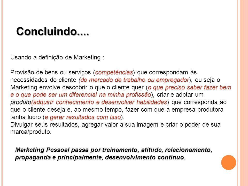Concluindo.... Usando a definição de Marketing :