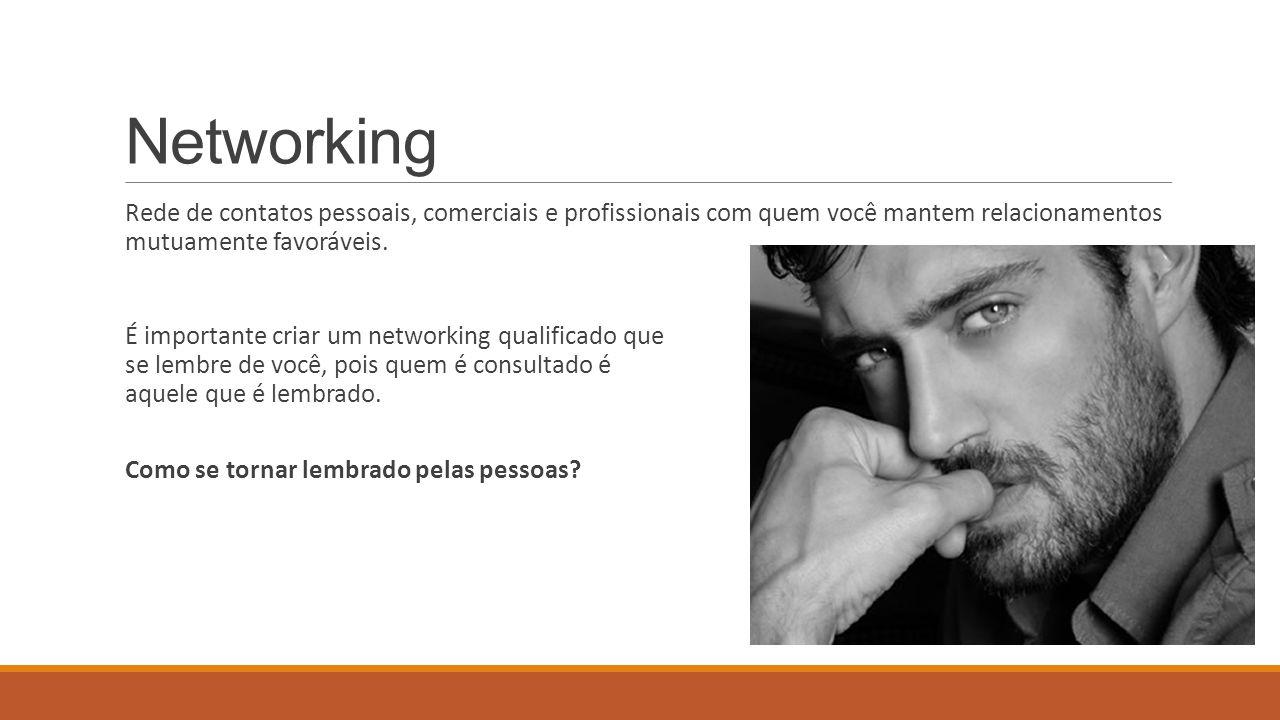 Networking Rede de contatos pessoais, comerciais e profissionais com quem você mantem relacionamentos mutuamente favoráveis.