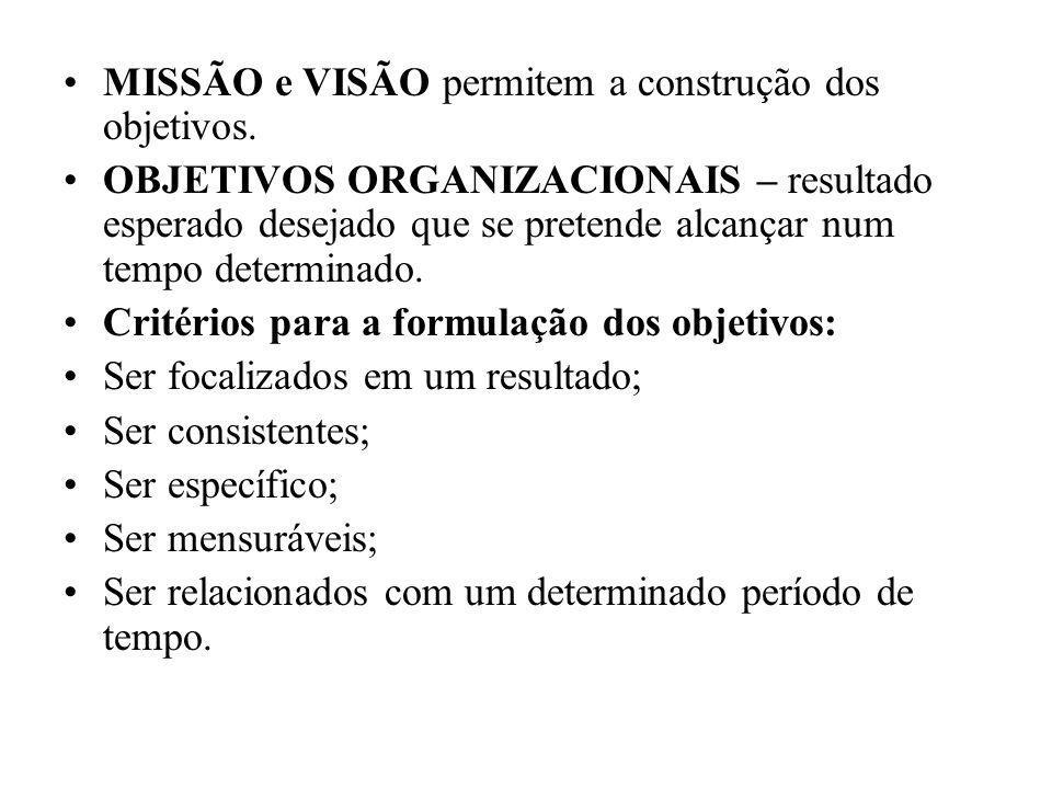 MISSÃO e VISÃO permitem a construção dos objetivos.