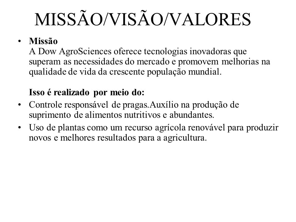 MISSÃO/VISÃO/VALORES