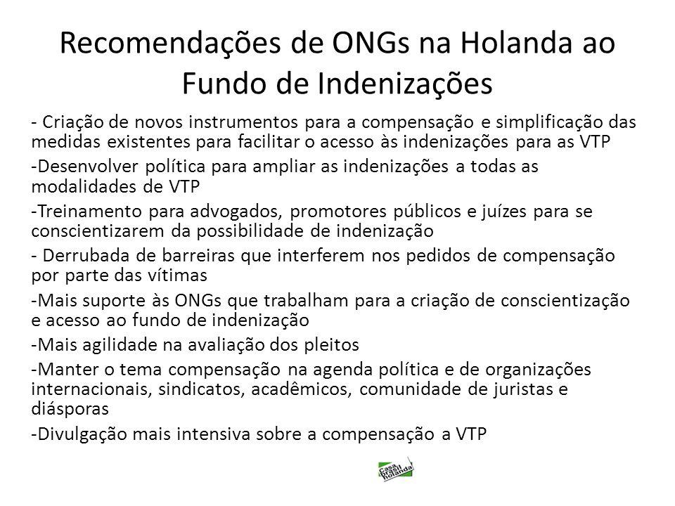 Recomendações de ONGs na Holanda ao Fundo de Indenizações