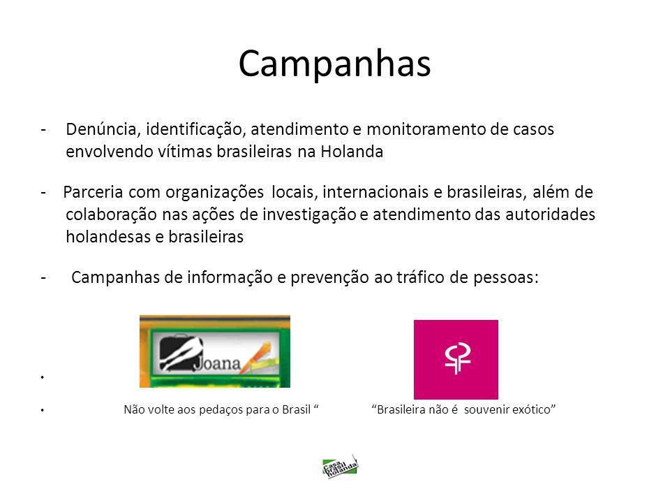 Campanhas Denúncia, identificação, atendimento e monitoramento de casos envolvendo vítimas brasileiras na Holanda.
