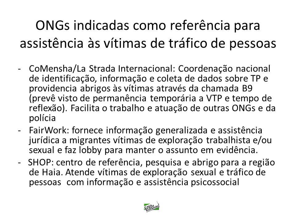 ONGs indicadas como referência para assistência às vítimas de tráfico de pessoas