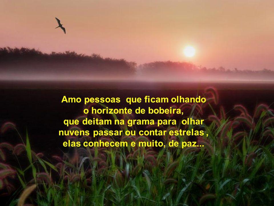 Amo pessoas que ficam olhando o horizonte de bobeira, que deitam na grama para olhar nuvens passar ou contar estrelas , elas conhecem e muito, de paz...