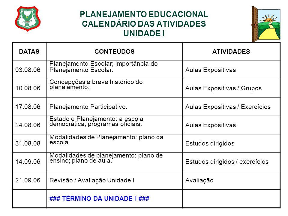PLANEJAMENTO EDUCACIONAL CALENDÁRIO DAS ATIVIDADES UNIDADE I
