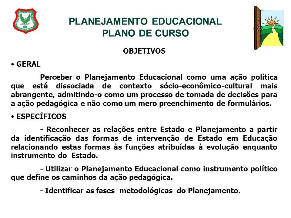 PLANEJAMENTO EDUCACIONAL PLANO DE CURSO