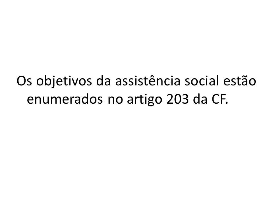 Os objetivos da assistência social estão enumerados no artigo 203 da CF.