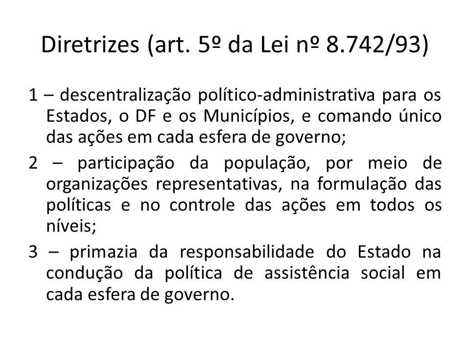 Diretrizes (art. 5º da Lei nº 8.742/93)