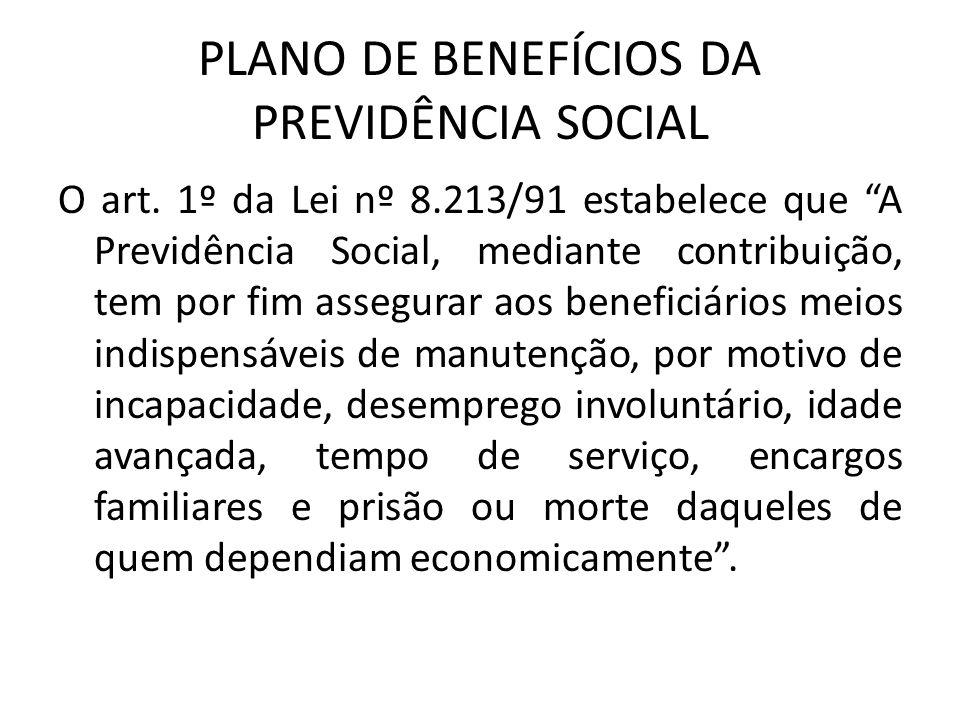 PLANO DE BENEFÍCIOS DA PREVIDÊNCIA SOCIAL