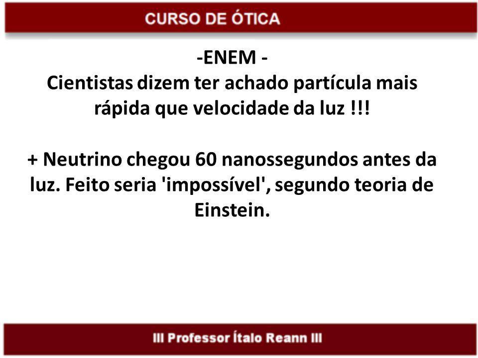 -ENEM - Cientistas dizem ter achado partícula mais rápida que velocidade da luz !!.