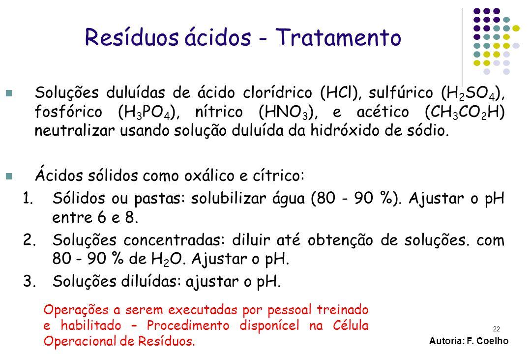 Resíduos ácidos - Tratamento